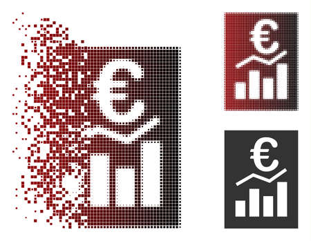 Vector Euro sale report icon in sparkle, dotted halftone and undamaged whole versions. Disintegration effect involves rectangle dots and horizontal gradient from red to black. Ilustração