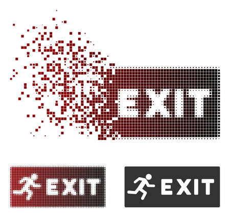 Vector emergency exit icon in dispersed, pixelated halftone and undamaged solid versions. Disappearing effect uses square scintillas and horizontal gradient from red to black. Stock Illustratie