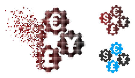 Vector financial gears icon in dispersed, dotted halftone and undamaged entire variants. Disintegration effect uses rectangle particles and horizontal gradient from red to black. Illustration