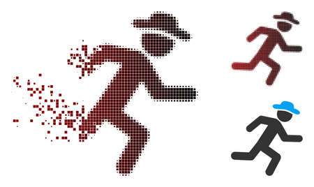 Vector running gentleman icon in sparkle, pixelated halftone and undamaged solid variants. Disappearing effect involves square sparks and horizontal gradient from red to black.