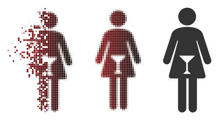 Vector woman icon in dispersed, pixelated halftone and undamaged solid versions. Disintegration effect uses rectangular dots and horizontal gradient from red to black.