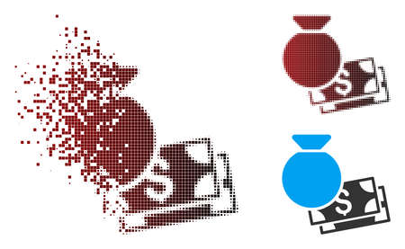 Vector money bag icon in dissolved, pixelated halftone and undamaged entire versions. Disappearing effect uses rectangle scintillas and horizontal gradient from red to black. Standard-Bild - 112139452