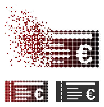 Vector Euro ticket icon in dissolved, dotted halftone and undamaged solid versions. Disappearing effect uses rectangle sparks and horizontal gradient from red to black. Illustration