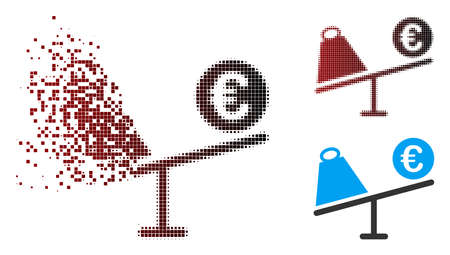 Vector Euro trade swing icon in dispersed, pixelated halftone and undamaged whole variants. Disintegration effect involves rectangular scintillas and horizontal gradient from red to black.