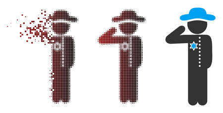 Vector gentleman officer icon in fractured, dotted halftone and undamaged whole versions. Disintegration effect uses square sparks and horizontal gradient from red to black.