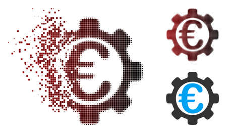 Vector Euro payment options icon in dispersed, dotted halftone and undamaged whole versions. Disappearing effect uses rectangular dots and horizontal gradient from red to black.