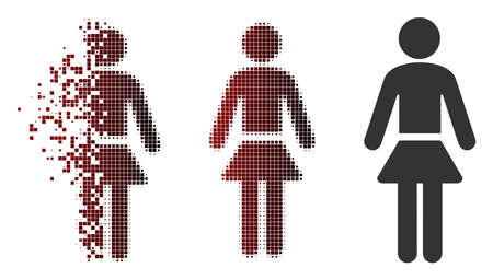 Vector lady icon in fractured, dotted halftone and undamaged solid versions. Disappearing effect uses rectangle scintillas and horizontal gradient from red to black.
