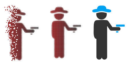 Vector gentleman robber icon in sparkle, dotted halftone and undamaged entire variants. Disintegration effect involves rectangle particles and horizontal gradient from red to black.