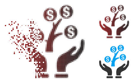 Vector money tree care hands icon in dissolved, pixelated halftone and undamaged entire variants. Disintegration effect involves rectangle particles and horizontal gradient from red to black. Illustration
