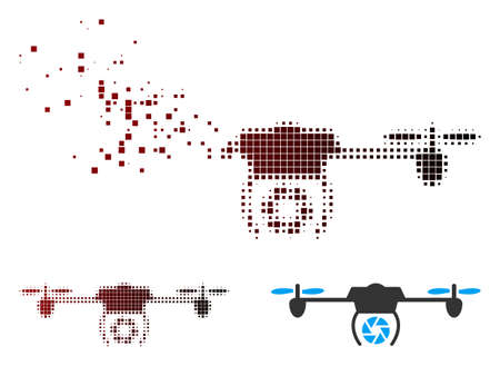 Vector shutter spy airdrone icon in sparkle, pixelated halftone and undamaged entire variants. Disintegration effect uses rectangular sparks and horizontal gradient from red to black.