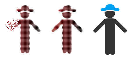 Vector gentleman apology icon in dissolved, dotted halftone and undamaged solid variants. Disappearing effect uses rectangular particles and horizontal gradient from red to black.