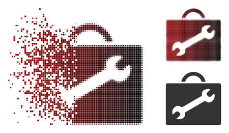 Vector repair equipment case icon in sparkle, pixelated halftone and undamaged solid versions. Disintegration effect involves square particles and horizontal gradient from red to black.