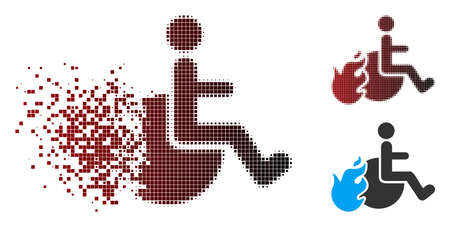 Vector fired patient icon in sparkle, pixelated halftone and undamaged whole variants. Disappearing effect uses rectangular particles and horizontal gradient from red to black. Stock Illustratie