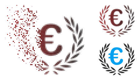 Vector Euro laurel wreath icon in sparkle, dotted halftone and undamaged entire variants. Disintegration effect uses rectangle particles and horizontal gradient from red to black.