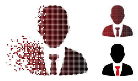 Vector businessman icon in sparkle, pixelated halftone and undamaged solid versions. Disappearing effect uses rectangle scintillas and horizontal gradient from red to black.