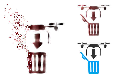 Vector drone drop trash icon in dispersed, pixelated halftone and undamaged solid versions. Disintegration effect involves square particles and horizontal gradient from red to black.
