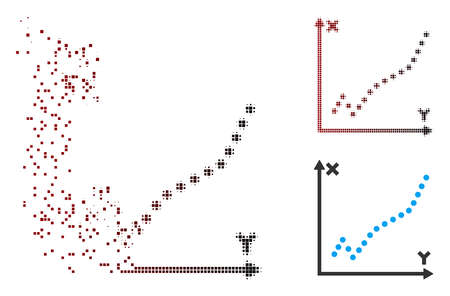 Vector function plot icon in fractured, dotted halftone and undamaged solid variants. Disintegration effect involves rectangular dots and horizontal gradient from red to black. Ilustração