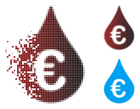 Vector Euro fuel drop icon in sparkle, dotted halftone and undamaged entire variants. Disappearing effect involves rectangle scintillas and horizontal gradient from red to black.