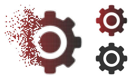 Vector gear icon in dispersed, pixelated halftone and undamaged whole versions. Disappearing effect involves rectangular sparks and horizontal gradient from red to black.