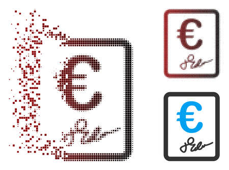 Vector Euro signed contract icon in dissolved, pixelated halftone and undamaged solid versions. Disappearing effect uses square particles and horizontal gradient from red to black. Ilustrace