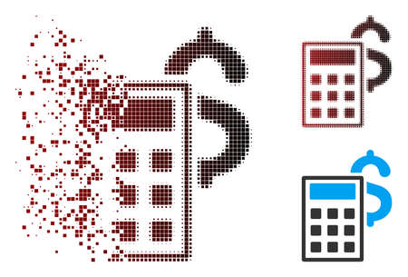 Vector business calculator icon in dispersed, dotted halftone and undamaged solid variants. Disintegration effect uses rectangular particles and horizontal gradient from red to black.