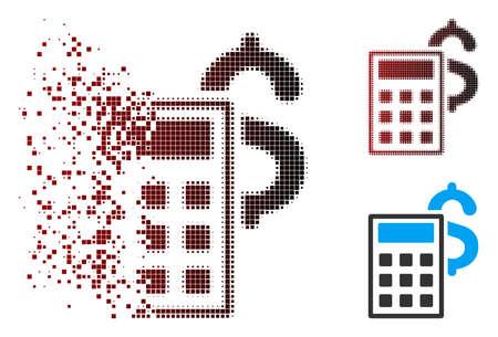 Vektor-Business-Rechner-Symbol in verteilten, gepunkteten Halbton- und unbeschädigten Volltonvarianten. Der Desintegrationseffekt verwendet rechteckige Partikel und einen horizontalen Farbverlauf von Rot nach Schwarz. Vektorgrafik