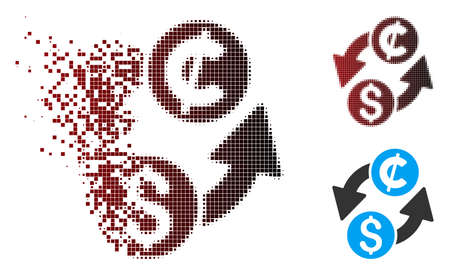 Vector dollar cent exchange icon in sparkle, pixelated halftone and undamaged entire variants. Disappearing effect involves rectangular particles and horizontal gradient from red to black.