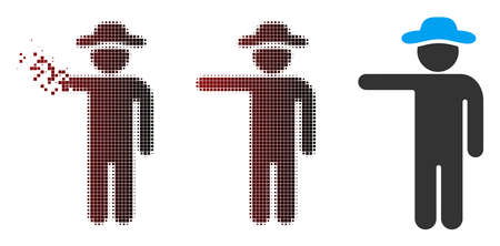 Vector gentleman show icon in sparkle, pixelated halftone and undamaged solid variants. Disappearing effect involves rectangular sparks and horizontal gradient from red to black.