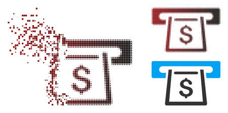 Vector cashout slot icon in dissolved, dotted halftone and undamaged entire versions. Disappearing effect uses square scintillas and horizontal gradient from red to black. Ilustrace