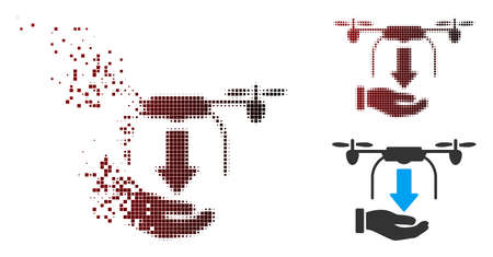Vector unload drone hand icon in dispersed, pixelated halftone and undamaged whole variants. Disintegration effect involves square dots and horizontal gradient from red to black.