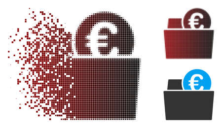Vector Euro wallet icon in dispersed, dotted halftone and undamaged solid variants. Disintegration effect involves square dots and horizontal gradient from red to black.