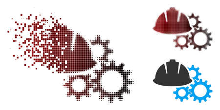 Vector engineering helmet and gears icon in dispersed, pixelated halftone and undamaged entire versions. Disintegration effect involves square scintillas and horizontal gradient from red to black. Illustration