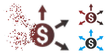 Vector cashout icon in dispersed, pixelated halftone and undamaged entire variants. Disappearing effect uses rectangular particles and horizontal gradient from red to black.