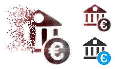 Vector Euro banking building icon in dispersed, pixelated halftone and undamaged whole versions. Disintegration effect involves rectangular sparks and horizontal gradient from red to black.