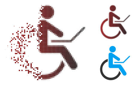 Vector wheelchair icon in sparkle, dotted halftone and undamaged whole variants. Disappearing effect involves rectangle sparks and horizontal gradient from red to black.