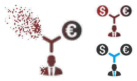 Vector currency manager icon in dispersed, pixelated halftone and undamaged whole variants. Illustration