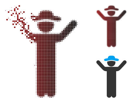 Vector hands up gentleman icon in dispersed, pixelated halftone and undamaged whole versions. Disappearing effect involves rectangular dots and horizontal gradient from red to black.