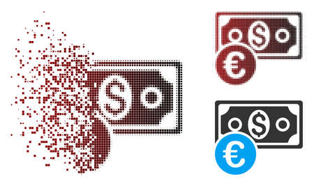 Vector currency cash icon in dispersed, dotted halftone and undamaged solid variants.