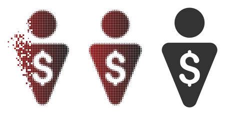 Icône de vecteur de banquier en demi-teintes dispersées, en pointillé et variantes solides intactes.