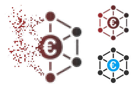 Vector Euro bank network icon in dissolved, dotted halftone and undamaged whole variants. Disintegration effect involves rectangular sparks and horizontal gradient from red to black.