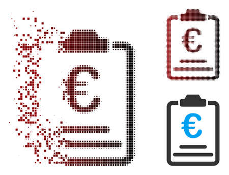 Vector Euro prices icon in sparkle, pixelated halftone and undamaged entire variants. Disappearing effect uses square dots and horizontal gradient from red to black.