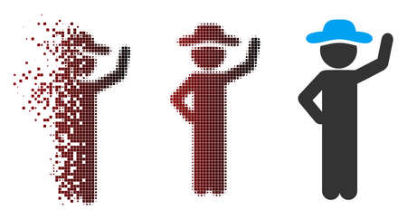 Vector gentleman assurance icon in dispersed, pixelated halftone and undamaged entire versions. Disintegration effect uses square scintillas and horizontal gradient from red to black.