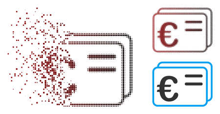 Vector Euro account cards icon in dissolved, pixelated halftone and undamaged solid versions. Disappearing effect uses square sparks and horizontal gradient from red to black.