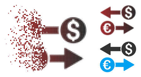 Vector currency transfers icon in fractured, dotted halftone and undamaged entire versions. Disappearing effect uses square dots and horizontal gradient from red to black.