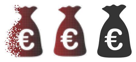 Icône de sac d'argent Vector Euro en demi-teintes dispersées, pixélisées et versions solides en bon état. L'effet de disparition utilise des étincelles rectangulaires et un dégradé horizontal du rouge au noir.