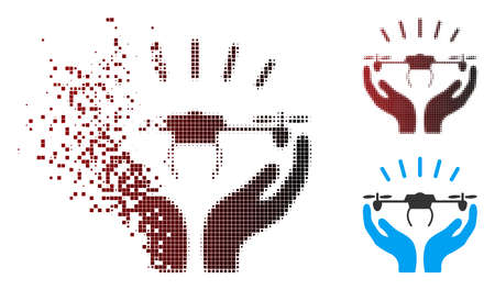 Vector drone launch hands icon in dispersed, pixelated halftone and undamaged entire versions.  イラスト・ベクター素材