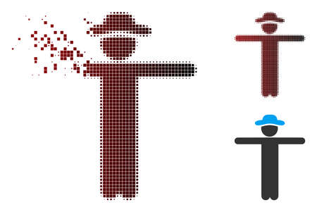 Vector gentleman scarescrow icon in dissolved, dotted halftone and undamaged solid versions. Disappearing effect uses rectangular dots and horizontal gradient from red to black. Vectores