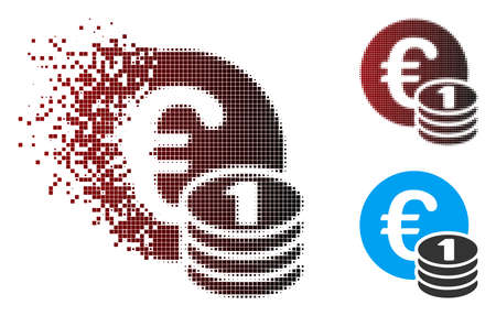 Vector one Euro coin stack icon in fractured, pixelated halftone and undamaged solid variants. Disintegration effect involves square particles and horizontal gradient from red to black. Ilustração