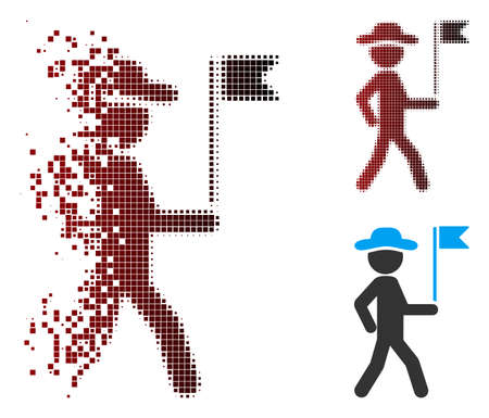 Vector gentleman flag guide icon in dispersed, pixelated halftone and undamaged entire variants. Disappearing effect uses rectangle scintillas and horizontal gradient from red to black.