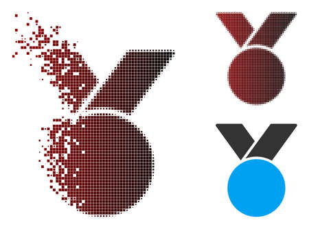 Vector army medal icon in dispersed, dotted halftone and undamaged entire versions. Disintegration effect involves rectangular sparks and horizontal gradient from red to black. Ilustrace